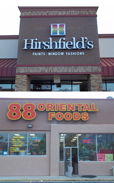 Two Retail Buildings with LED Channel Letter Signs in Minneapolis, MN
