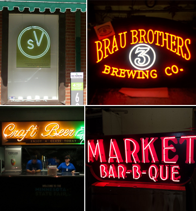 Stores and Restaurants with Neon Signs in Minneapolis, MN